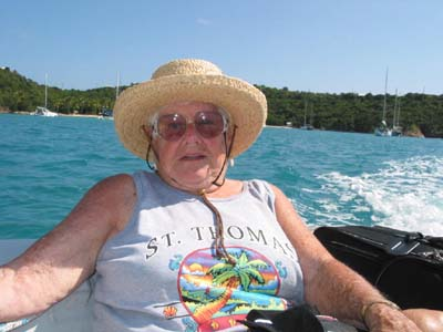Mom riding in the dinghy